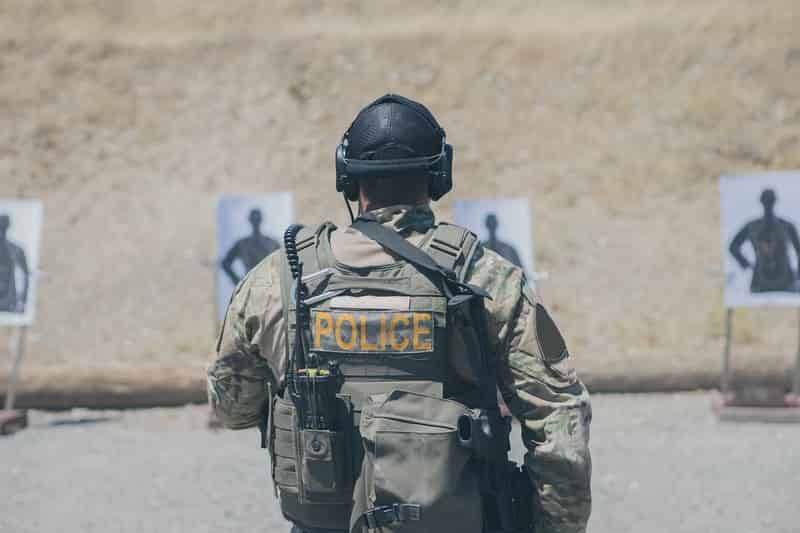 police officer training at a shooting range